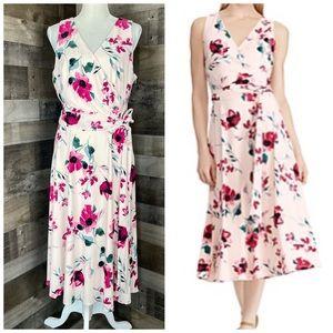 NEW Ralph Lauren Pink Rose Dress Jersey Sz 14